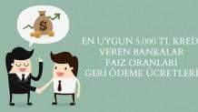 En Uygun 5.000 TL Kredi Veren Bankalar