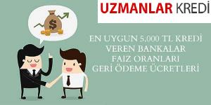 En Uygun 5000 TL Kredi