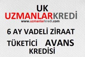 6 Ay Vadeli Ziraat Tüketici Avans Kredisi!